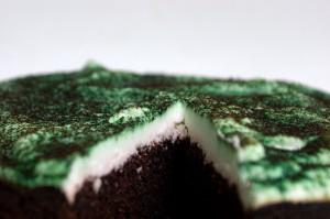 Ein großer grüner Mosskuchen.